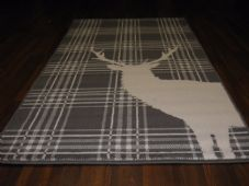 Modern Approx 5x2ft6 80x150cm Woven Top Quality Stag checksGrey/Cream Rugs/Mats